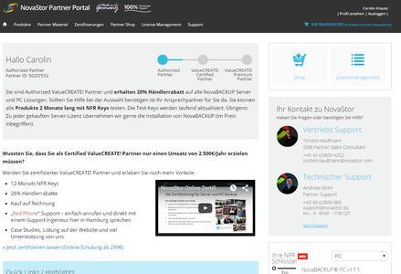 Screenshot Partnerportal NovaStor