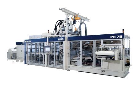 Komplette Anlage, wie sie von ILLIG in verschiedenen Ausführungen für das Thermoformen von Kunststoffteilen gebaut wird