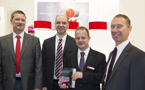 Award ceremony at electronica 2014 (from left to right): Michael Hilpert, Senior Sales Manager Systemboard, Fujitsu, Fred Knapp, Business Development Manager, MSC Technologies, Stefan Schutz, Product Marketing Specialist, MSC Technologies, Peter Hoser, Director OEM Sales Systemboard, Fujitsu