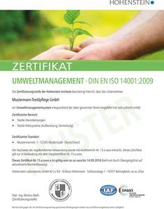 Bislang sind weltweit über 260.000 Unternehmen und Organisationen nach der Umweltmanagementsystem-Norm ISO 14001 zertifiziert – Tendenz stark steigend. © Hohenstein Institute