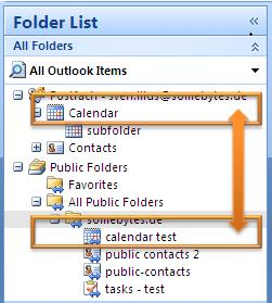 Outlook mixed folder synchronisation