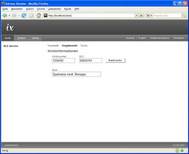 Ein Webservice zur Ergänzung von Bankleitzahlen im Portal
