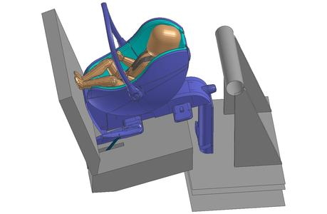 Child safety seat modeled using Virtual Seat Solution