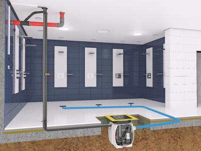 Einbaubeispiel Baufix 200 für die Schmutzwasserentsorgung eines öffentlichen Duschbereichs / Foto: Pentair Jung Pumpen, Steinhagen