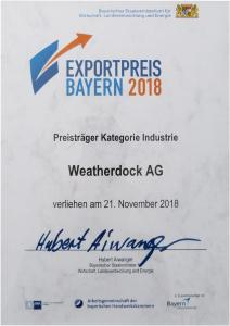Certificate Bavarian Export Award 2018 - Winner