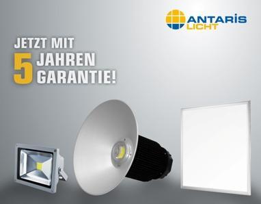 ANTARIS bietet jetzt fünf Jahre Garantie auf seine LED-Strahler, LED-Hallenstrahler und LED-Panels. Bild: ANTARIS