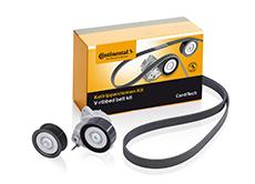 The new ContiTech auxiliary drive kits from the ContiTech Power Transmission Group contain a V-ribbed belt and tensioner of original equipment quality (Photo: ContiTech)