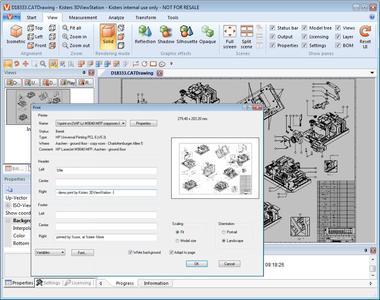3D-CAD Viewer für Catia 2D-Zeichnungen, großformatiges Drucken, Undo: KISTERS 3DViewStation V2014.1