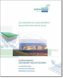 """Das nutzbare Umkehrdach: Die Nophadrain Planungshilfe für nutzbare Umkehr-Dachflächen. Sie steht unter www.obs.de unter dem Menüpunkt """"Prospekte"""" zum Download bereit"""
