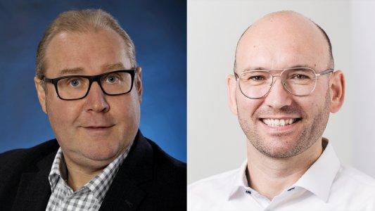 Michael Bölk (ADN, li.) und Stefan Cink (Net at Work, re.) freuen sich auf die Zusammenarbeit