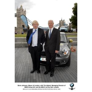 Boris Johnson, Mayor of London, with Tim Abbott, Managing Director of BMW Group UK, and the MINI E at City Hall, London (06/2009)