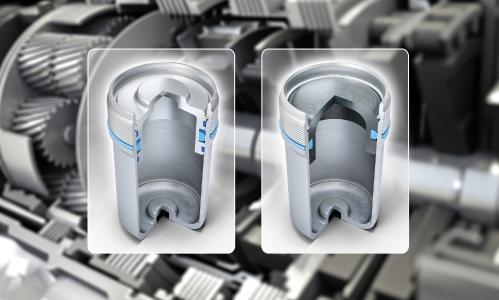 FST_PistonAccumulator2018.jpg: Aus vier mach eins: Der neue Leichtbau-Hydrospeicher für Doppelkupplungsgetriebe (rechts im Bild) kommt ohne komplexes Dichtsystem aus