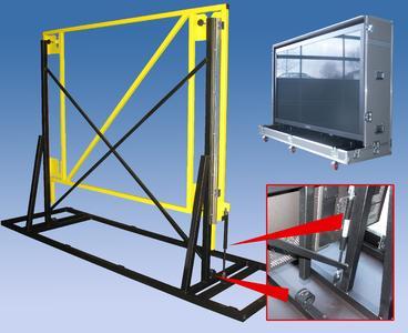 Industrie-Gasfedern und Strukturdämpfer vom Typ TUBUS TR verhindern wirksam das Aufschlagen des Bildschirms auf den Tragrahmen