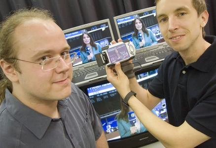 Michael Repplinger and Marco Lohse demonstrate Motama's multimedia software
