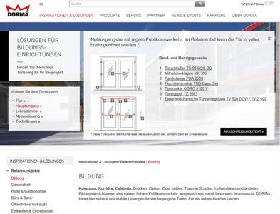 Darstellung der Türsituation für den Haupteingang von Bildungseinrichtungen auf www.dorma.de