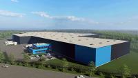 Visualisierung des Multi-User-Warehouse. Die Fertigstellung des Hallenkomplexes ist für den Herbst geplant. (Quelle: Goldbeck Münster)