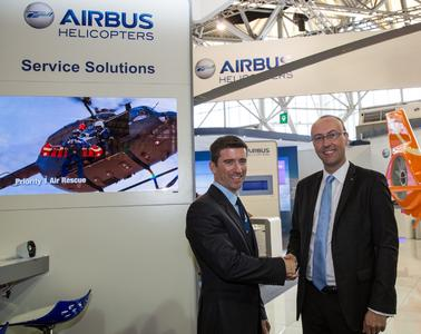Brad Matheson, President of Priority 1 Air Rescue with Regis Magnac, VP Head of Operational Marketing for Airbus Helicopters, © Copyright Lorette Fabre