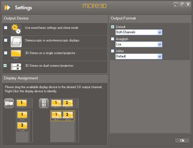 moreMedia HD 3D-Ausgabe-Konfiguration