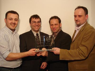 Newsletter-Preis 2007 vlnr Miro Milos (MD Avanquest), Ulrich Abele (GF VVGA), Richard Oberhofer (Avanquest) und Guido Herrig (Avanquest/Blitzbox.de)