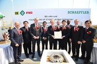 Foundation of the stone laying ceremony for the new Schaeffler plant at Chon Buri, Thailand. In the picture, the management team of the region Asia/Pacific, in the middle Andreas Schick, CEO Asia/Pacific