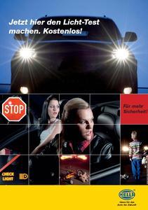 Für Handel und Werkstätten gibt's bei Hella Poster, die Autofahrer zum Lichttest auffordern