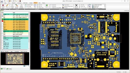 Darstellung einer Leiterplatte in PCB-Investigator auf Basis eines ODB++ Datensatzes. Das Programm von EasyLogix dient von der Entwicklung bis zur Arbeitsvorbereitung für die Produktion als einheitliche Informationsquelle zu Bauteilen, Stückliste, Lagenaufbau, Leiterplattenbild, Schablonendaten etc. Zahlreiche 2D- und 3D-Ansichten bereiten die Daten auf, Multitouch-Fingergestenbedienung macht die Navigation auf dem virtuellen PCB einfach und komfortabel (Bildquelle: EasyLogix)