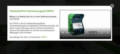 Lightbox mit weiterführenden Produktinformationen