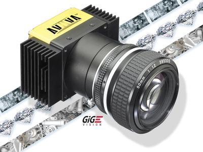 Die e2v AViiVA EM1 Zeilenkameras werden mit 120 MHz ausgelesen, sie erreichen Zeilenraten von 54 kHz und zählen damit zu den weltweit schnellsten GigE Vision Zeilenkameras