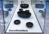 MCBW START UP Ausstellung von bayern design in Kooperation mit Flughafen München, Waschbecken aus Sand - Korall von Sandhelden (Gersthofen), Foto: FGM & Stephan Görlich
