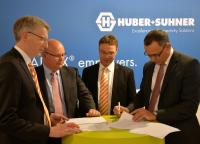 Dirk van Vinckenroye, Executive VP Industry Automation & Solutions at Weidmüller; Drew Nixon, Chief Operating Officer Global Sales at HUBER+SUHNER; Detmar Saalmann, Global Industry Development Manager Transportation at Weidmüller and Patrick Riederer, Chief Operating Officer Low Frequency at HUBER+SUHNER at InnoTrans 2016 in Berlin.