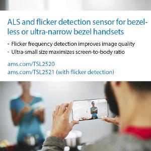 ams introduces TSL2520 and TSL2521 ambient light/flicker detection sensors for smartphones /  copyright ams AG