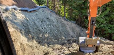 Photo of screen in place above excavation area