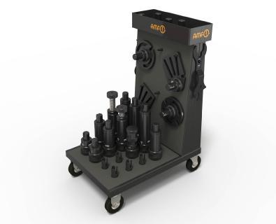 AMF bietet zahlreiches Zubehör für die modularen Schraubböcke. Ein Werkstattwagen mit Aufnahmen für die Module sorgt für Ordnung und eine mobile, schnelle Bereitstellung am Einsatzort. ©Quelle/Bildrechte: AMF