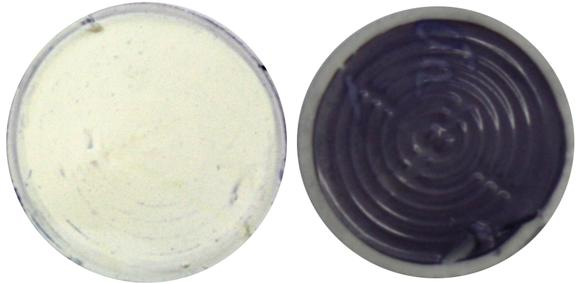 Result of the Hohenstein quick detection method on microbiologically pure water / Right: Discoloration of the quick detection sample due to a high level of bacterial contamination, Image: Hohenstein Institutes