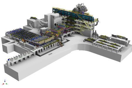 3D-Grafik von der Sechsstrang-Knüppelgießanlage für ArcelorMittal Kryvyi Rih