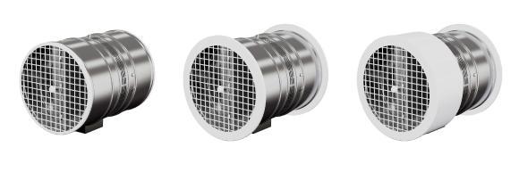 Für einen optisch ansprechenden Wandanschluss sind pulverbeschichtete Schutzgitter in zwei Varianten sowie eine Rohrblende verfügbar
