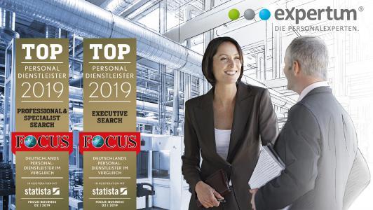 expertum ist Top-Personaldienstleister 2019