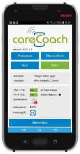 Bild: App careCOACH auf klinischen Smartphone Ascom Myco 3