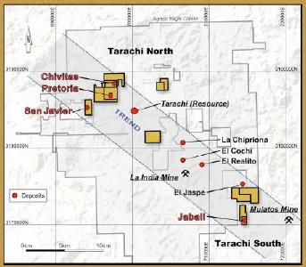 Location Map of Tarachi Gold Corp Concessions