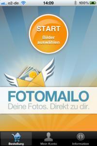 Fotomailo: Startscreen der App