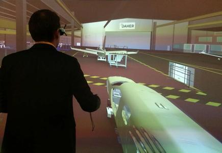 ESI's Immersive Virtual Prototyping solution allows Daher's engineers to immerse themselves inside their factory to set-up and fine-tune their aircraft final assembly lines (Image courtesy of Daher)