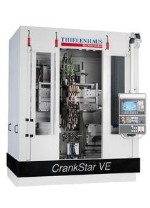 The vertical CrankStar machines can be flexibly loaded either from the front or the back. The machine solution can be viewed via tablet or smartphone in 3D with the CrankStar app, which can be downloaded for free from iTunes or Google Play Store. Picture: Thielenhaus Technologies GmbH