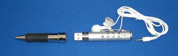 Kuli mit MP3-Player und Diktiergerät