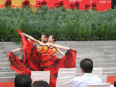 Chinese dancers during the exhibitor reception