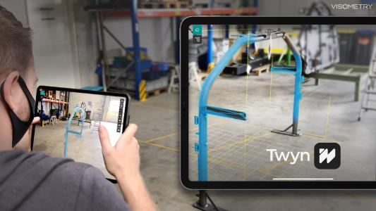 Product image of Twyn: Augmented Reality superimposes the digital twin on the component for an as-is/as-planned comparison for quality assurance of incoming goods