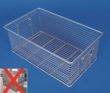 In contrast to boxes from perforated sheets the baskets from stainless steel rounds have no enclosed surfaces, corners and edges. Cleaning media and process technology have unfettered access to the parts to be cleaned.