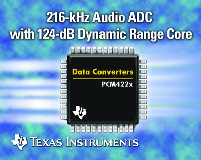 TI Introduces 216-kHz Stereo ADCs with Industry-Leading 124-dB Dynamic Range Core