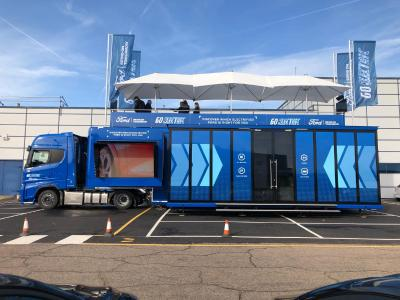 "Schuler Fahrzeugbau delivers the ""FORD GO ELECTRIC ROADSHOW TRUCK"""