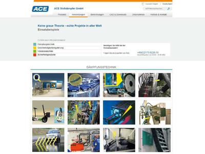 Erstmals sind unter www.ace-ace.de 56 Fallbeispiele mit Bildern und Texten aufgenommen, die auf einen Blick und mit wenigen Klicks die Möglichkeiten der ACE Lösungen verdeutlichen sowie Anstoß für eigene Konstruktionsideen der Besucher sein können