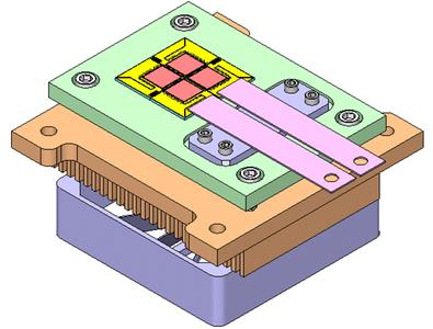 The module has four 5x5mm  VCSEL chips each delivering 120W of output power each which are connected in series. The chips are mounted on a copper heat sink which is fan cooled which is integrated with the module.